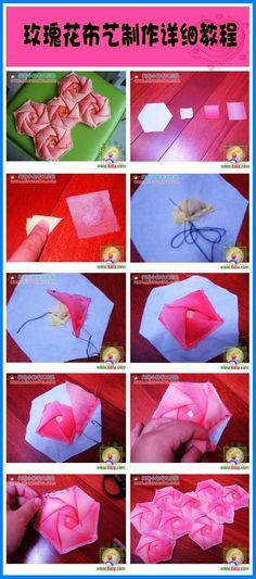 Rose Quilt Block | Hexagon rose quilt block
