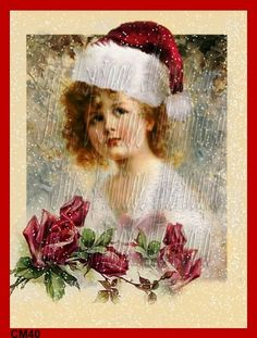 CM40 Vintage Victorian Christmas Card Fabric by QUILTFABRICBLOCKS, $11.99