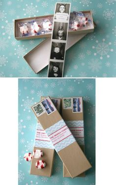 Photobooth Strip in a Box | 49 Awesome DIY Holiday Cards