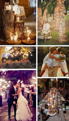 Outdoor at night wedding inspiration ~ tree trunks wrapped with white lights