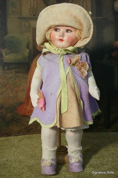 18.5 Lenci-Type Cloth Doll with Mask Face from signaturedolls on Ruby Lane