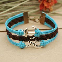 Infinity bracelet- blue anchor bracelet