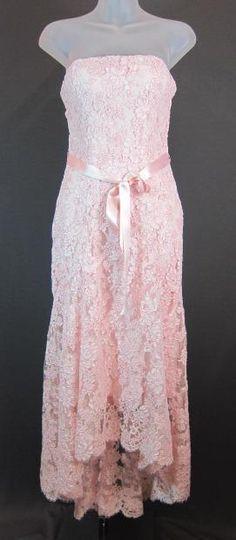 MONIQUE LHUILLIER LIGHT PINK LACE DRESS GOWN FORMAL SIZE 4 | eBay