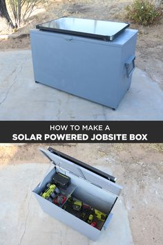 "I made a solar powered job site box so i can charge my power tools while i keep them safe. I welded the box out of 1/8"" steel plate and water proofed it with Flex Seal products"