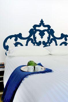 wall art, headboard, blank walls, guest bedrooms, blue, wall decals, vinyl, wall stickers, guest rooms