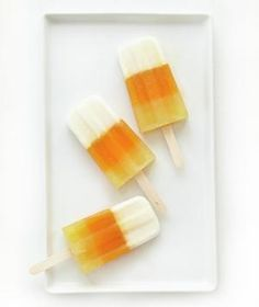 Candy Corn Popsicle: This tiered popsicle, which features layers of coconut, pineapple, and mango juices, looks just like its super-sweet inspiration—candy corn.