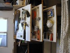 Ok, this is officially one of the coolest organizing ideas I've seen for a garage!