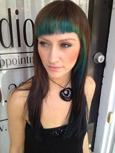 Learn how to create the coolest blue and green peacock-inspired hair color using Pravana Vivids, Redken Chromatics and Wella Color Touch Relights. peacock inspir, peacockinspir hair, color palettes, hair colors, blue green, coloring, green hair, blues, peacock hairstyles