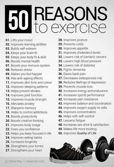 50 reasons to exercise - fitness workout motivation!  Some great reasons to get out and get busy! - P.S:You can lose weight fast using these natural drops from- XRasp.com