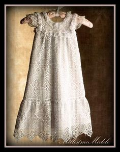 Baby Dress Crochet Pattern Victorian : Crochet PATTERN For Lacy Vintage Christening Gown 0 - 6 ...