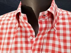 Bergdorf Goodman Mens Orange White Check Cotton Shirt Size L Made in Italy #BergdorfGoodman #ButtonFront #SHOPinspired #vols