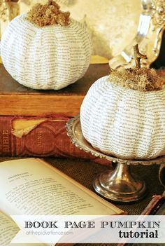 How to make a book page pumpkin from dollar store foam pumpkins!