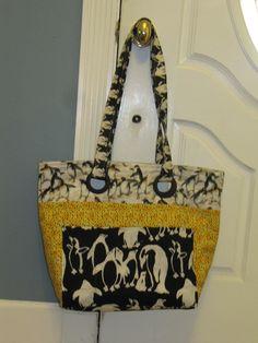 Penguin Tote, penguin fabric, tote bag, penguin purse