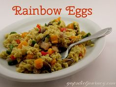 This is a great way to get colorful vegetables at breakfast time. Rainbow Eggs are one of my favorites!