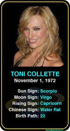 Celeb #Scorpio birthdays: Toni Collette's astrology info! Sign up here to see more: https://www.astroconnects.com/galleries/celeb-birthday-gallery/scorpio?start=30  #astrology #horoscope #zodiac #birthchart #natalchart #tonicollette