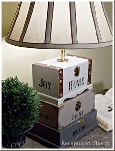 craft boxes, box lamp, trinket boxes, diy crafts, cigar boxes, dollar store crafts, wooden boxes