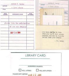 Library book wedding invitations