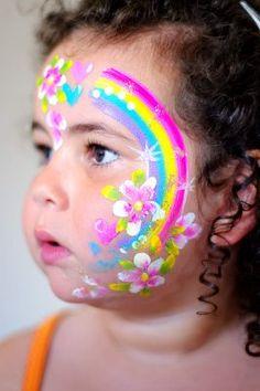 idea, fairies, fairi face, face paintings, heart rainbow, rainbows, facepaint child, flowers, rainbow face