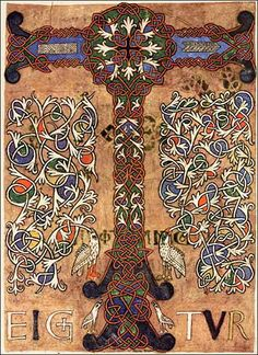 """Illuminated """"T"""" from the Sacramentary of Figeac (French, 11th century)."""