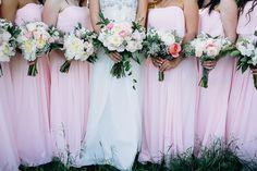Soft pink bridesmaids dresses | www.onefabday.com