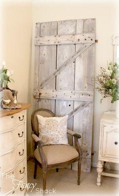 The Fancy Shack: old barn door decor, chair, barn doors, fanci shack, rustic doors, bedroom closets, old doors, gate, old barns
