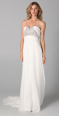 Marchesa Silk Crepe Gown with embroidered bodice.