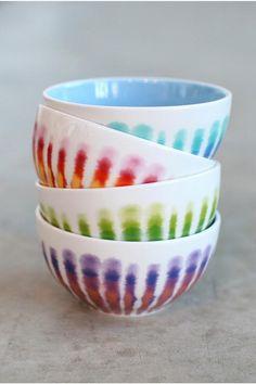 ceramic bowls, tie dye, color, ties, ceramics, kitchen, cereals, rainbow, dyes