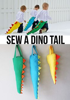 sew a DIY dinosaur (dino) tail- how adorable! And they don't look too tricky!