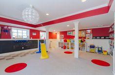 wonderful basement playroom ideas... love the chalkboard, storage, wall & ceiling paint accents, minus the spots on the floor Basements Playrooms, Playrooms Ideas, Kids Playrooms, Playrooms Design, Plays Rooms, Kids Photos, Chalkboards Wall, Kids Rooms, Kids Design