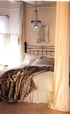 Fur canopi, romantic bedrooms, beds, cozy bedroom, fur, light, pottery barn, throw blankets, curtain