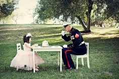 At tea with a Marine