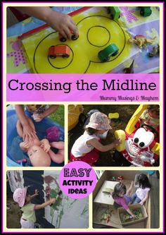 A collection of easy yet fun activity ideas for toddlers & beyond to encourage the important developmental skill of 'Crossing the Midline'