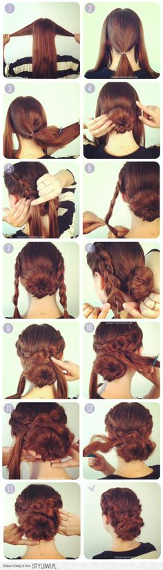 This braided bun would be great for thin hair with the addition of a sock bun & clip-in extensions.