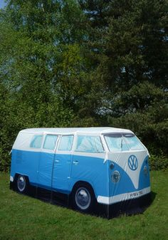 Groovy Getaway Tent. A sweet scale replica of a 1965 VW van, this waterproof design has a recognizable retro body in bright blue, with all of the original touches, from an oversized logo and polished chrome-looking wheels, to a pair of euro-inspired license plates that can be customized to suit your route or cool companions. Includes spacious interior that accommodates four with timelessly tall proportions, two distinct spaces with a zip-up partition, as well as solid and screened doors.