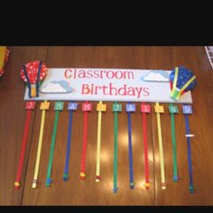 The birthday board I made for my mom's classroom!