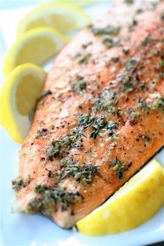 Cedar-Planked Salmon with Chive Sauce