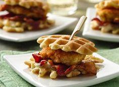 Fried Chicken 'n Waffle Sandwich Bites