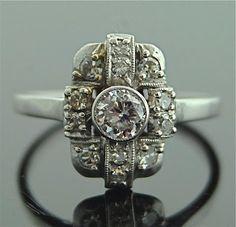 Vintage Ring vintag ring, diamond rings, vintage weddings, vintage rings, ring white, diamond galleri, white gold, art deco, vintage style