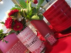 Paper Wrapped Vases for Your Valentines Tablescape