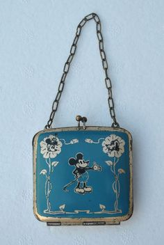 Rare Blue Vintage Mickey Mouse Minnie Pluto childs purse with chain