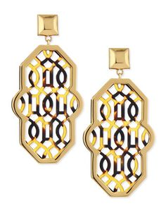 Tory Burch Chantal Perforated-Tortoise Earrings by: Tory Burch