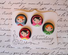 matryoshka faces fabric covered button collection