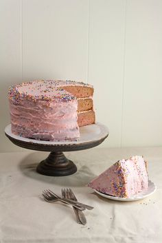 The Brown Betty Bakery's Strawberry Cake with Strawberry Buttercream Frosting