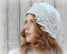 Linen and Lace Cloche Hat by GreenTrunkDesigns