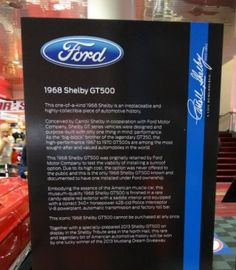 Here is the storyboard that appeared at the 2012 SEMA Show where the 68 Shelby GT500 Mustang w/ sunroof was on display.  The car is one-of-a-kind, read why.