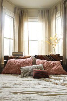 bedroom idea, beds, bay windows, bedroom design, nook, hous, plant decor, bedrooms, pillows