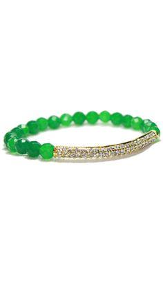 Green Onyx Crystal Bar Bracelet