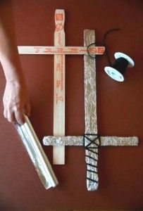 decoration :Swords made from paint stirs!