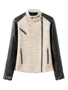 Love Love LOVE this Jacket! Beige Wool And Black PU Splice Zipper Detail Coat #Zipper #Detail #Colorblock #Moto #Jacket #Fall #Fashion