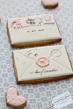 envelope cookies such a sweet idea, vintage style, handmade and charming